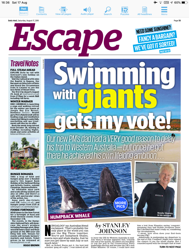 'Swimming with giants gets my vote' - Stanley Johnson