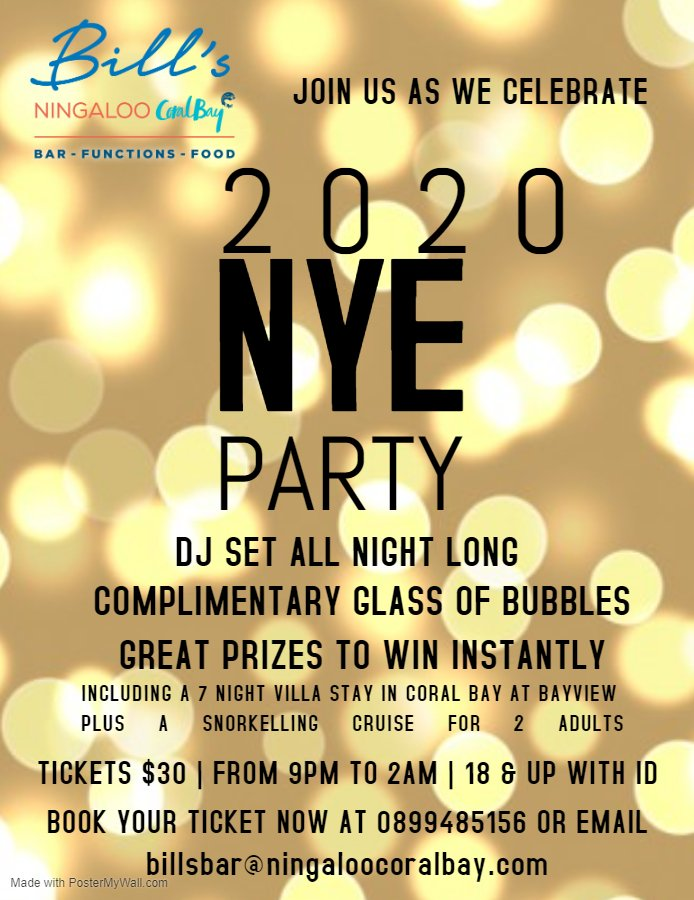 Bill's Bar New Years Eve Party - Tickets on sale now!